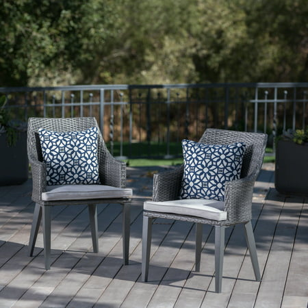 Hillsdale Outdoor Wicker Dining Chairs with Cushions, Set of 2, Grey ()