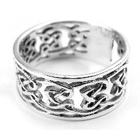 Open Celtic Knotwork Sterling Silver Band Ring