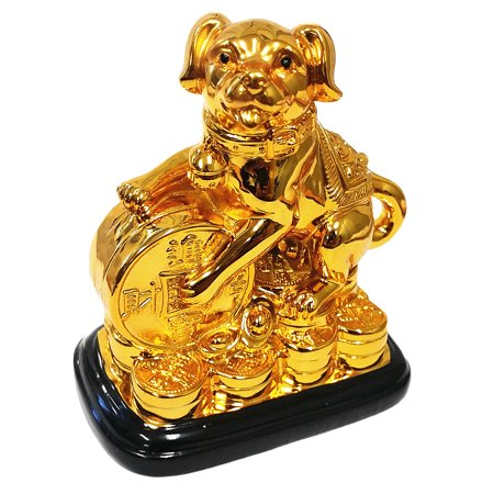 Feng Shui 2018 Good Fortune Zodiac Holding Money Coin Statue Figurine Decoration for Wealth Luck