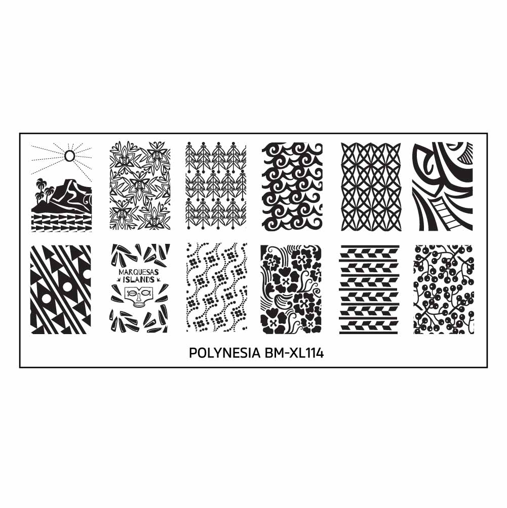 Bundle Monster Polynesian Themed Nail Art Design Rectangular XL ...