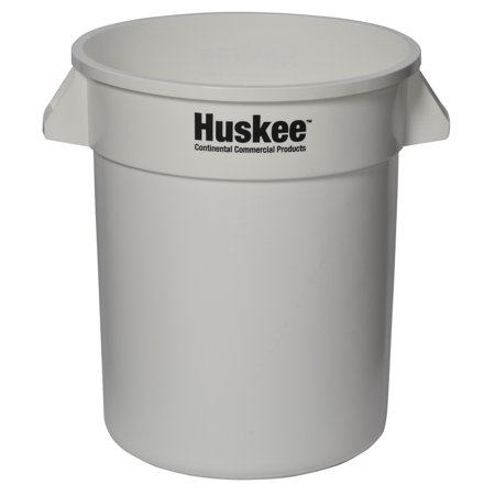 (Price/Case)Continental Manufacturing 2000WH Huskee White 20 Gallon Round Waste Container 1-1 Each Continental Round Huskee Container