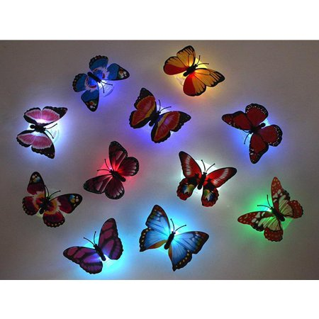 8 packs LED Fiber Optic Lamp Butterflies Night Light Butterfly (Time Night Light)