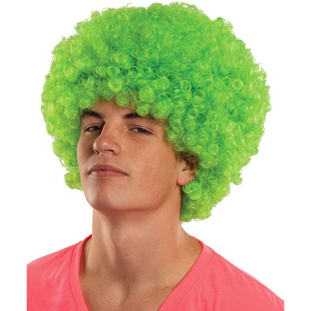 Neon Clown Wigs - Adult Curly Circus Clown Neon Small Afro Rave Hair Wig Costume Accessory