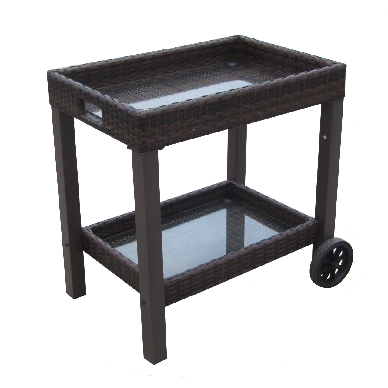 Outdoor Patio Rattan Serving Cart with Tempered Glass Shelves by CC Outdoor Living