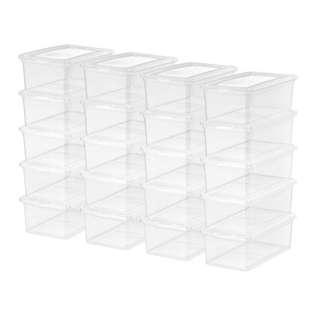 Mainstays 5 Quart/1.25 Gallon Shoe Box Storage, Clear, 20 Pack (Clear Box)