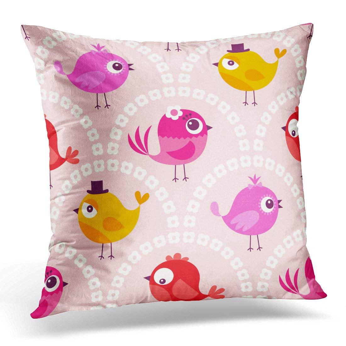 CMFUN Pink Wall Cute Cartoon Birds Pattern Red Kids Pillow Case Pillow Cover 20x20 inch
