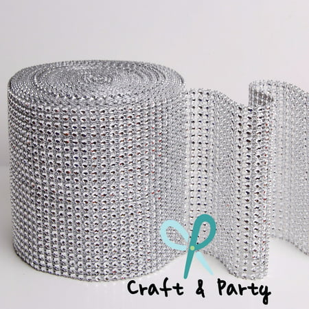 10 Yards 30 ft 24 Row Diamond Rhinestone Mesh Ribbon Bling Wrap Roll Favor (New Pink Rhinestone)