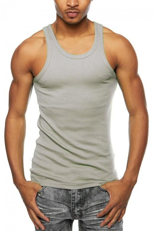 Mens Premium Cotton A-Shirt Muscle Ribbed Tank Top T-Shirt Gym 388T-S-Red