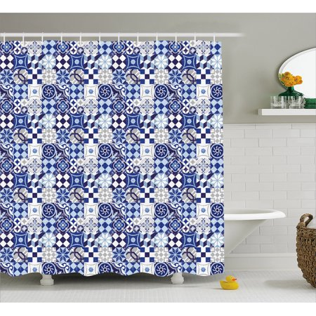 Antique Shower Curtain Vintage Patchwork Inspired Mosaic Tile Pattern Traditional Classic Design Fabric Bathroom