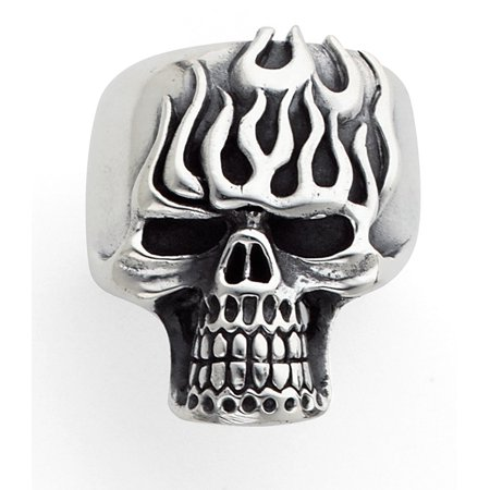 Stainless Steel Flaming head Skull Ring for men (Available Sizes 10 to 14) size 11 ()
