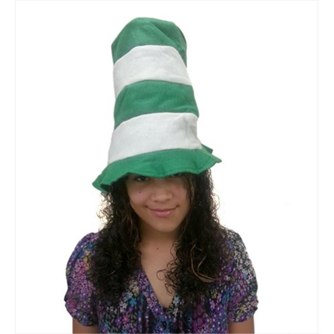 CoverYourHair am644 School Spirit Green and White Striped Stove Pipe Top Hat