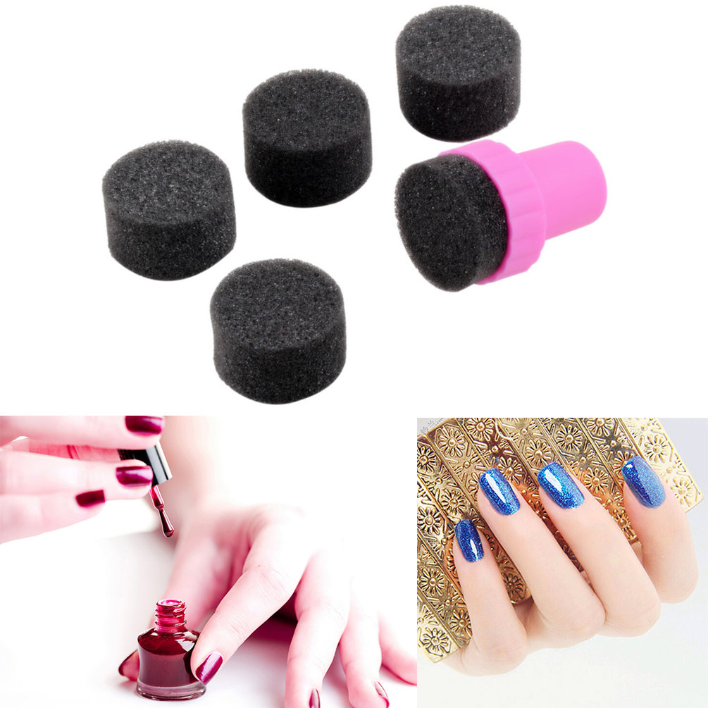 OUTAD - Nail Art Sponge Stamp Stamping Polish Template Transfer DIY Design Kit Deco^