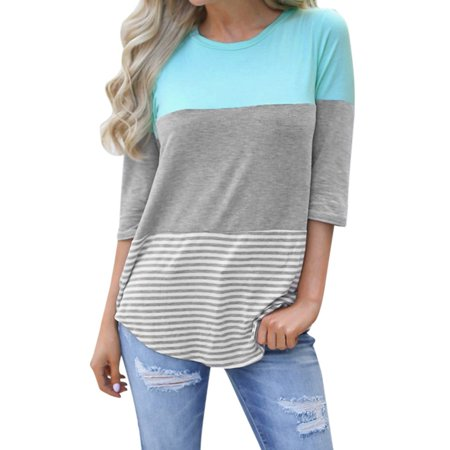 - Women's Casual Loose Striped Patchwork Lace Three Quarter Sleeve Shirts XL