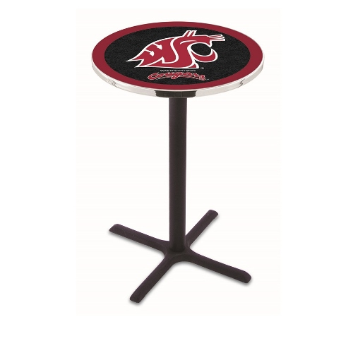 Washington State University Pub Table in Black Wrinkle Finish (28 in. Dia. x 36 in. H)