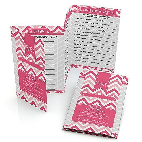 Chevron Pink - Baby Shower Games Pack - 5 Games in 1 - Fabulous 5 - Set of 12