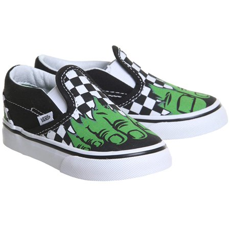 Vans Classic Slip On Marvel Hulk/Checkerboard Skate Shoes 4 Toddler - Vans Slip On Toddler
