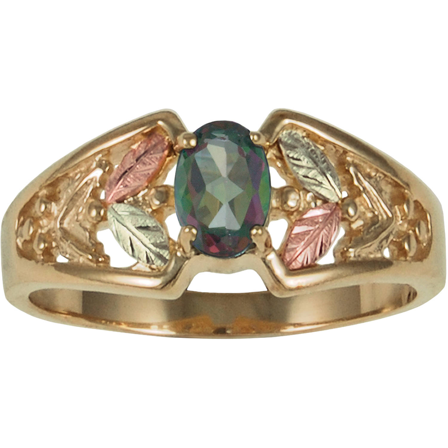 Black Hills Gold Women's Mystic Fire Topaz 10kt Yellow Gold with 12kt Gold Leaf Accents Ring