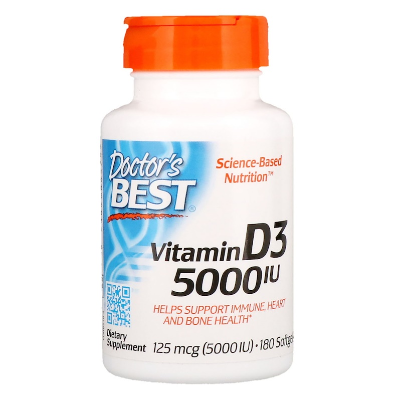 Doctor's Best, Vitamin D3, 125 mcg (5000 IU), 180 Softgels(Pack of 1)