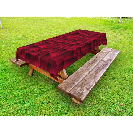 Maroon Tablecloths (Maroon Outdoor Tablecloth, Modern Geometric Contemporary Art Wave Like Shapes with Abstract Backdrop Image Print, Decorative Washable Fabric Picnic Tablecloth, 58 X 120 Inches, Maroon, by)