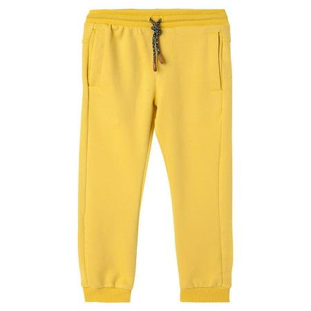 Toddler Boys Sweatpants - OFFCORSS Toddler Boys Jogger Cotton Sweatpants Stretchy Loose Sports Winter Fall Jogging Light Fabric Pants with Pockets Pantalon Niños Yellow 18 M