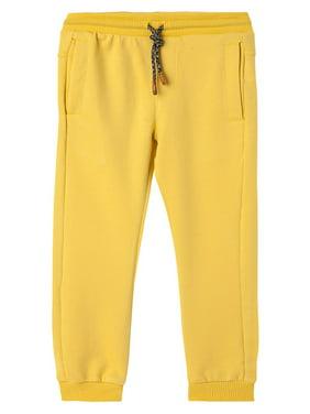 OFFCORSS Toddler Boys Jogger Cotton Sweatpants Stretchy Loose Sports Winter Fall Jogging Light Fabric Pants with Pockets Pantalon Niños Yellow 18 M