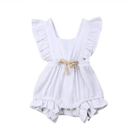 3711e3617af26 Newborn Baby Girl Romper Bodysuits Cotton Flutter Sleeve One-Piece Romper  Outfits Clothes - Walmart.com