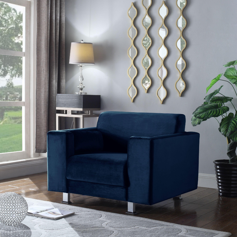 Chic Home Nancy Elegant Velvet Modern Contemporary Plush Cushion Seat Chrome Legs Club Chair, Grey by Chic Home