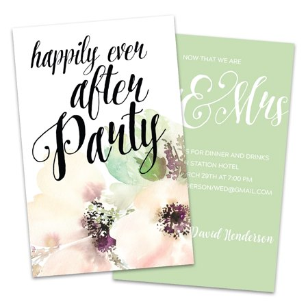 Water Color Flower Personalized Wedding Reception Invitations (Wedding Reception Order)