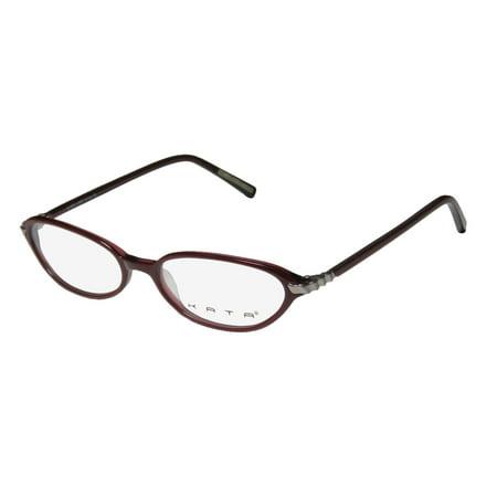 New Kata Blade 3 Womens/Ladies Designer Full-Rim Berry / Gunmetal Comfortable Light Style In Style Frame Demo Lenses 51-16-135 Eyeglasses/Eyeglass - Matte Gunmetal Demo Lens