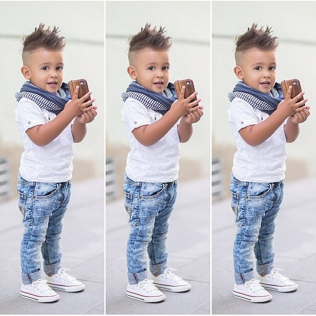 New 2pcs Toddler Kids Baby Boy Infant T-shirt Top+Jeans Pants Clothes Outfit Set
