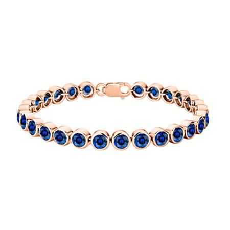 Sterling Silver 14K Rose Gold Vermeil Bezel Set Created Blue Sapphire Tennis Bracelet 25 Carat