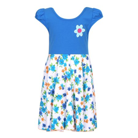 Girls Sun Dress (Richie House Girls' Knit Summer Dress with Flowers)