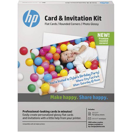 HP K6B84A Card and Invitation Kit for Glossy Rounded Corner Flat Cards, 5x7, 25 Sheets and Envelopes