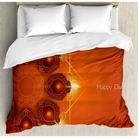 Ambesonne Diwali Indian Religious Sacred Celebration Hy Festive Paisley Pattern Print Duvet Cover Set