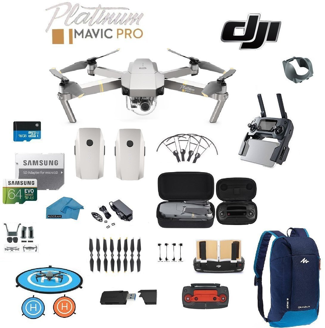 DJI Mavic Pro Platinum Drone - Quadcopter - with 2 Batteries - 4K Professional Camera Gimbal - Bundle Kit - with Must Have Accessories