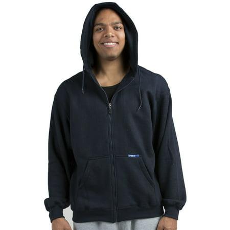 Marle Zip - Vibes Mens Navy Fleece Zip Up Hoodie Sweatshirt, Kangaroo Pockets Male Adult