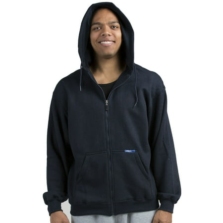 Vibes Mens Navy Fleece Zip Up Hoodie Sweatshirt, Kangaroo Pockets Male Adult
