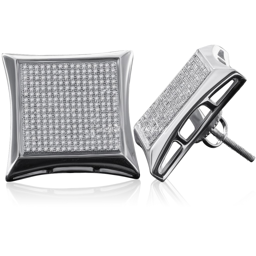 Sterling Silver 21MM White Micro Pave Diamond Kite Stud Earrings (1.6 cttw, H-I color, I1-I2 Clarity)