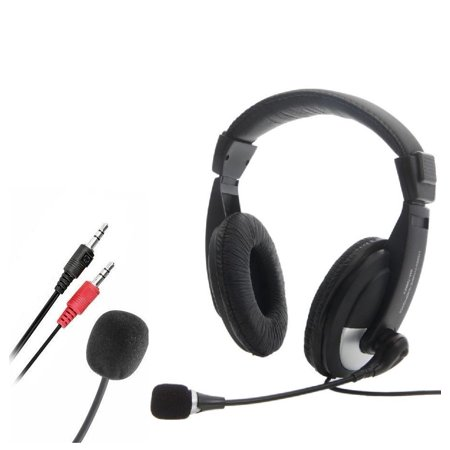 CableVantage NEW 3.5mm Headset Headphones with Microphone Mic for Computer PC Gaming Stereo Skype (Computer Headphones Microphone)