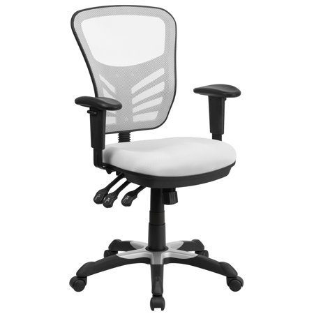 A Line Furniture White Mesh-back Multifunction Executive Swivel Office Chair with Triple Paddle Control (Multifunction Mechanism)