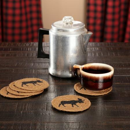 Natural Tan Rustic Tabletop Kitchen Shasta Cabin Moose Jute Stenciled Nature Print Round Coaster Set of 6 - Rustic Coasters
