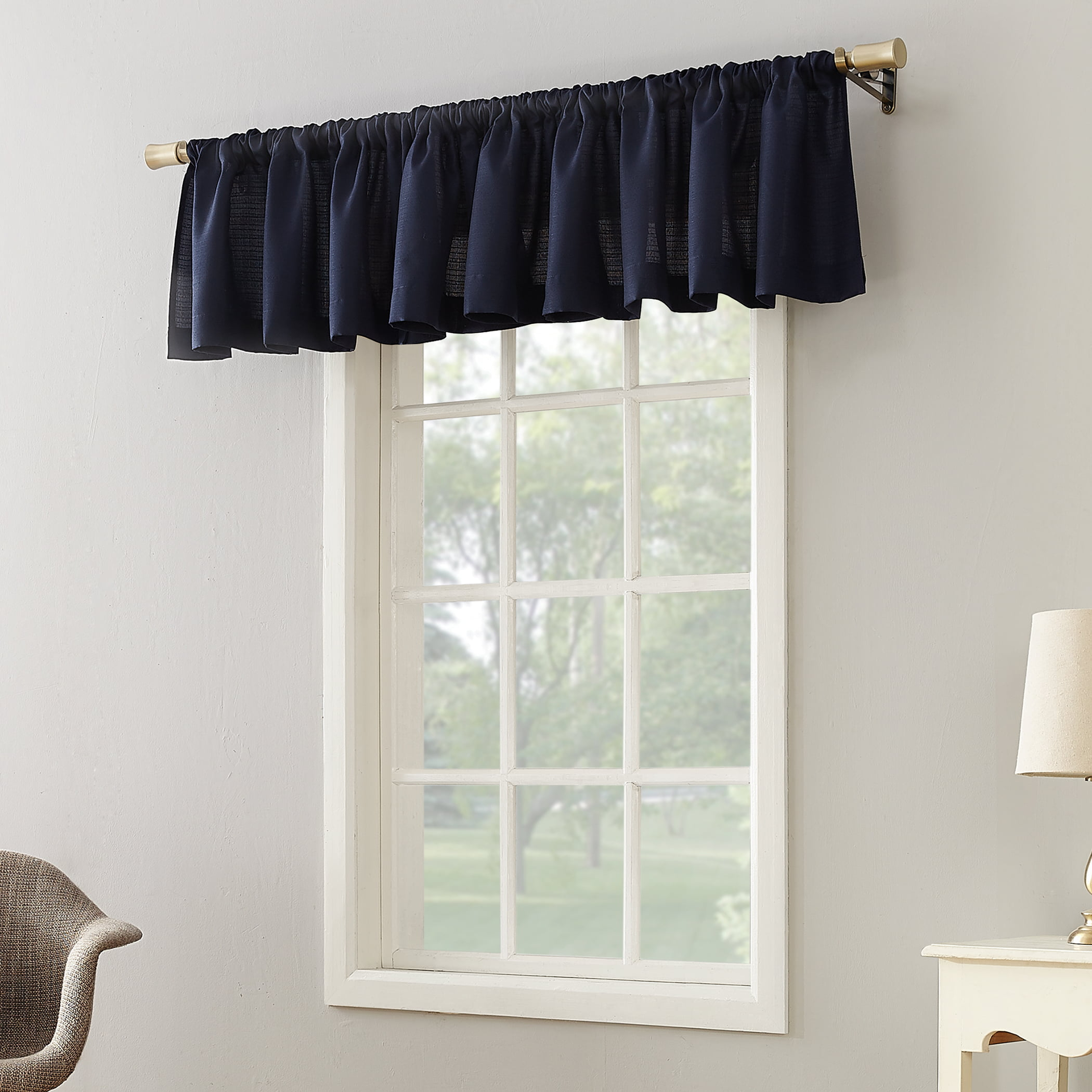 fascinating Solid Red Valances Part - 20: Mainstays Textured Solid Curtain Valance - Walmart.com