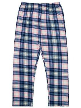 North 15 Girl's Super Cozy Plaid Minky Fleece Pajama Bottom with Waist & Bottom Rib-L1525G-Des16-10-12