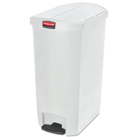 Rubbermaid Commercial Slim Jim Resin Step-On Container, End Step Style, 18 gal, White