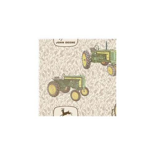 Springs Creative 41128J37 John Deere Fleece 59-60 inch  Wide 100% Polyester 10yd D-R-Vintage Tractors on Wheat -Pack of -