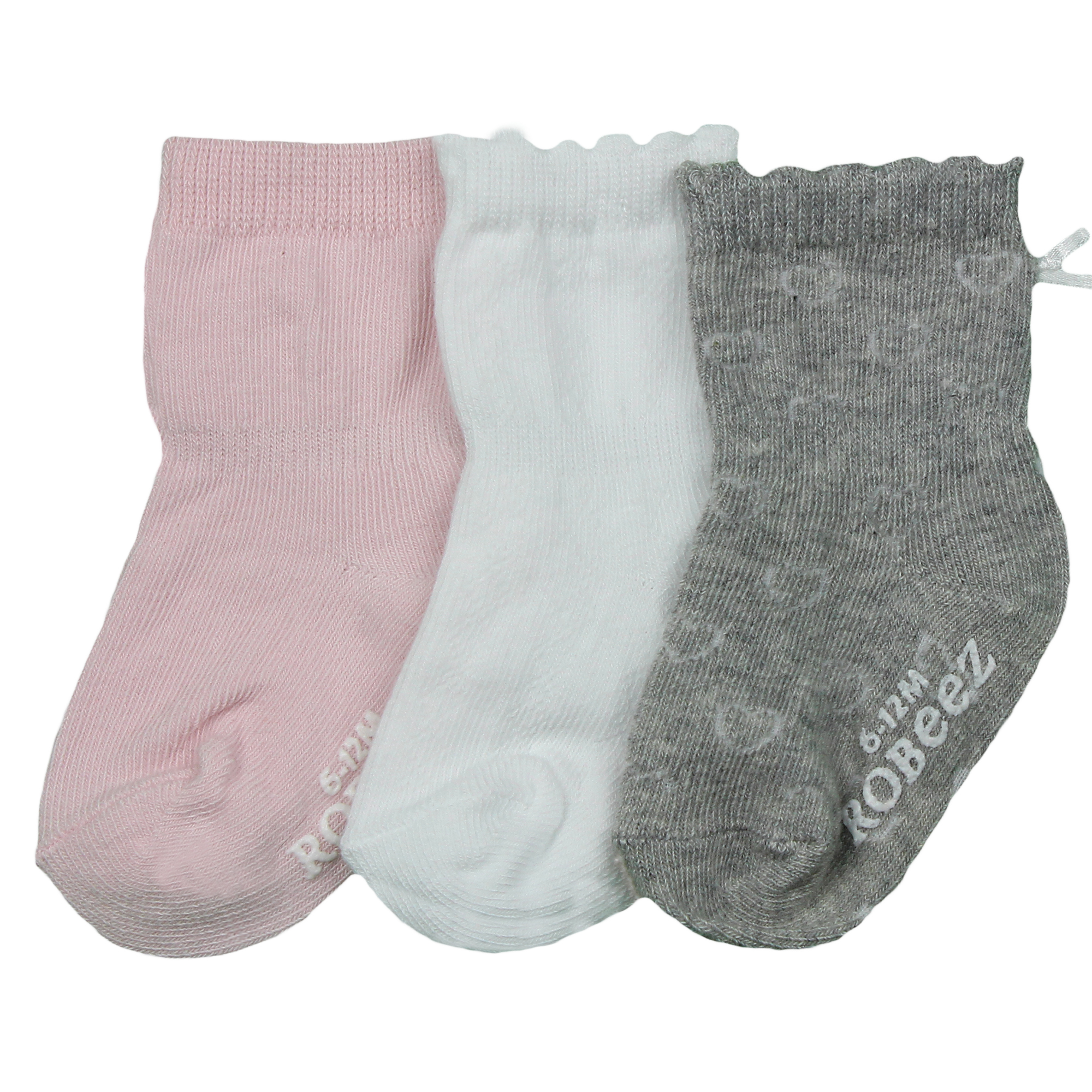 Baby Pink 6-12 Months Stay ON Baby Socks 3 Pairs with Stay On Technology