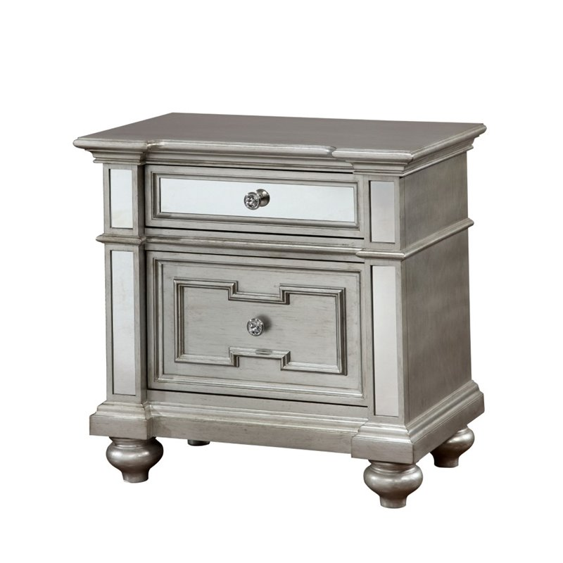Furniture of America Farrah 2 Drawer Mirrored Nightstand in Silver