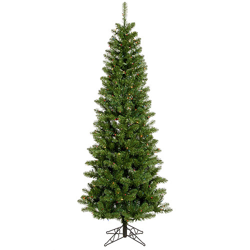"Pre-Lit 7.5' x 36"" Salem Pencil Pine LED Artificial Christmas Tree, Green, Multi-Colored Lights"