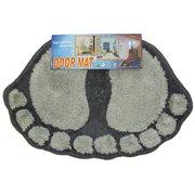 Store51 Llc 12440969 Foot Prints Black-grey Shaggy Accent Floor Rug Door Mat