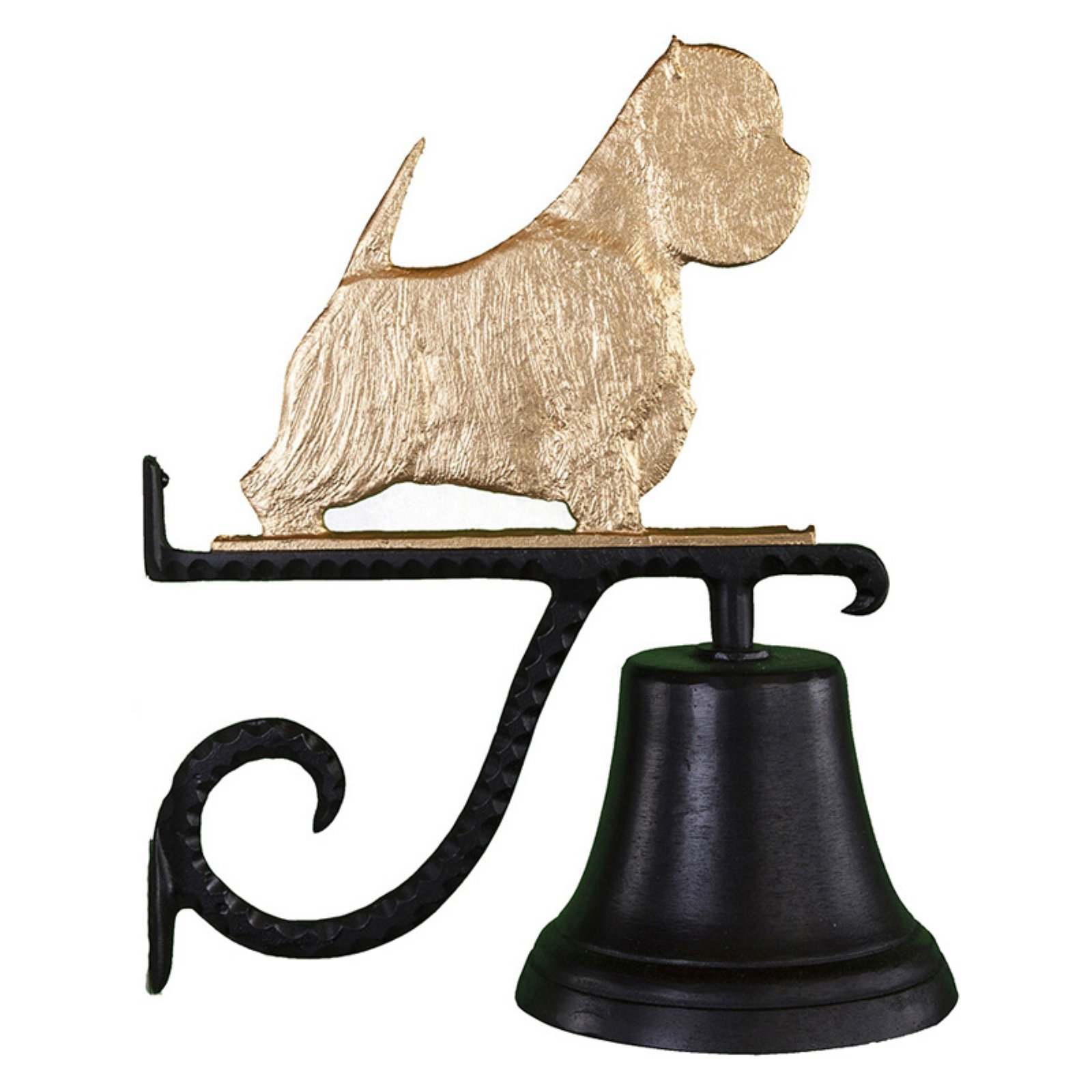 Cast Bell with Gold West Highland White Terrier